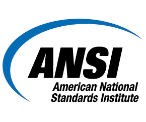 ANSI Logo - Blue swipe begins in lower left hand side and end in upper right hand side with the text ANSI American National Standards Institute under the swipe.
